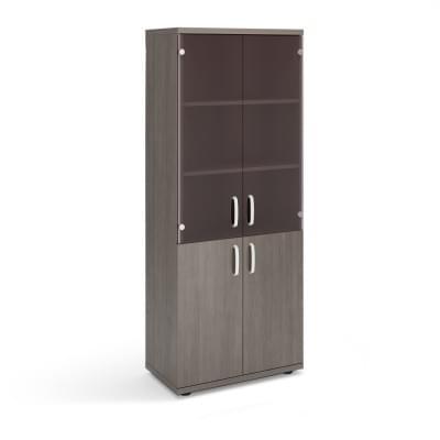Шкаф высокий со стеклянными дверями